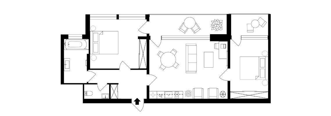 Trijų kambarių apartamentai su virtuvėle (kiliminė grindų danga)